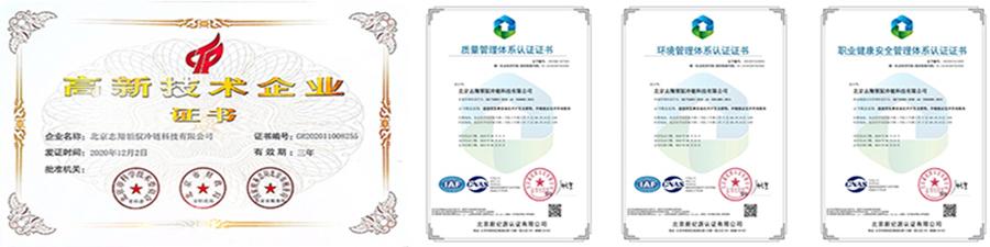 志翔领驭国家高新技术企业证书及产品专利